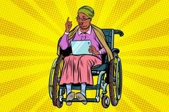 年长非洲轮椅的妇女残疾人,小配件ta 向量例证
