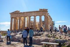 11 03 2018年雅典,希腊-帕台农神庙寺庙在一个晴天 Acr 免版税库存图片