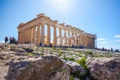 11 03 2018年雅典,希腊-帕台农神庙寺庙在一个晴天 Acr 库存照片