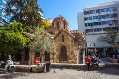 11 03 2018年雅典,希腊- Panaghia Kapnikarea教会是G 免版税库存图片
