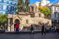 11 03 2018年雅典,希腊- Panaghia Kapnikarea教会是G 免版税库存照片