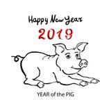 2019年黄道带猪 新年好2019传染媒介中国人日历 皇族释放例证