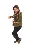 年龄中间使用的violon妇女 免版税库存照片