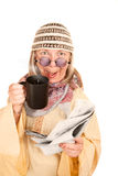 年龄疯狂的新的长袍妇女黄色 库存图片