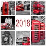 2018年,伦敦旅行照片拼贴画,黑白和红色有选择性的颜色 免版税库存照片