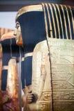 29 07 2015年,伦敦,英国,大英博物馆-在埃及棺材的被绘的场面 库存照片