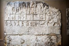29 07 2015年,伦敦,英国,大英博物馆-埃及人雕刻了场面 免版税库存照片