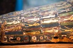 29 07 2015年,伦敦,英国,大英博物馆-埃及棺材 免版税图库摄影