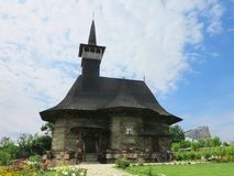 07 06 2018年,摩尔多瓦,基希纳乌:中世纪木教会 图库摄影