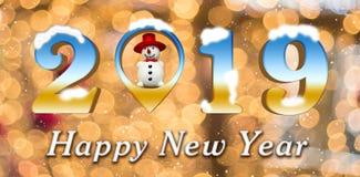 2019年,新年快乐,3d回报,在雪人,在后面地面的雪里面的地点 向量例证
