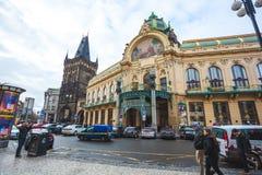 25 01 2018年;布拉格,捷克-市政议院和粉末 免版税库存照片