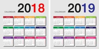 年2018年和年2019日历传染媒介设计 免版税库存图片