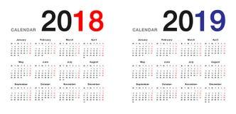 年2018年和年2019日历设计模板,简单和干净的设计 库存例证