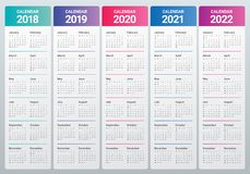 年2018 2019 2020 2021 2022排进日程传染媒介 免版税库存图片