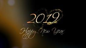 2019年 新年快乐招呼的美好的文本动画 股票录像