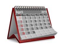2019年 日历4月 被隔绝的3d例证 免版税库存图片