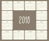 年2018月度日历 免版税库存照片