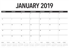 2019年1月桌面日历传染媒介例证,简单和干净的设计 皇族释放例证