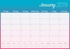 2019年1月桌面日历传染媒介例证,简单和干净的设计 向量例证