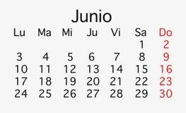 2019年6月飞行的日历 向量例证