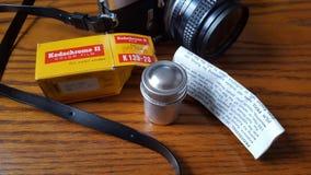 1969年7月:准备好葡萄酒的照相机&的Kodachrome射击 免版税库存照片