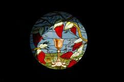 2018年11月 埃及沙姆・谢赫 污迹玻璃窗玻璃在基督徒埃及之土著基督教派里 免版税图库摄影