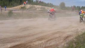 2018年6月10日俄罗斯联邦,布良斯克地区, Ivot -极端体育,发怒摩托车越野赛 摩托车骑士进入 影视素材