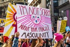2019年1月19日旧金山/加州/美国-妇女的3月事件 免版税库存图片