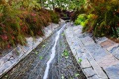 2018年6月8日洛杉矶/加州/美国-围拢水小河的豪华的植被流经罗伯特艾文\'s中央庭院在 图库摄影