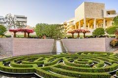 2018年6月8日洛杉矶/加州/美国-罗伯特艾文的中央庭院在日落的格迪中心 免版税库存图片