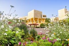 2018年6月8日洛杉矶/加州/美国-罗伯特艾文的中央庭院在日落的格迪中心 免版税库存照片
