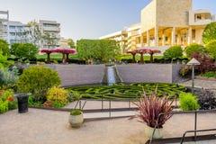 2018年6月8日洛杉矶/加州/美国-罗伯特艾文的中央庭院在日落的格迪中心 免版税图库摄影