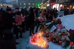 2018年3月27日,俄罗斯,沃罗涅日:纪念火的受害者的行动在购物中心在克麦罗沃 库存照片