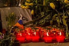 2018年2月25日,俄罗斯,莫斯科 对鲍里斯・涅姆佐夫的纪念品在莫斯科, Bolshoy Moskovretsky桥梁,俄罗斯的中心 免版税库存图片