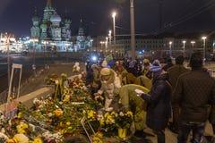 2018年2月25日,俄罗斯,莫斯科 对鲍里斯・涅姆佐夫的纪念品在莫斯科, Bolshoy Moskovretsky桥梁,俄罗斯的中心 库存照片