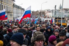 2018年2月25日,俄罗斯,莫斯科 鲍里斯・涅姆佐夫记忆的3月在莫斯科的中心,大道圆环,俄罗斯 图库摄影