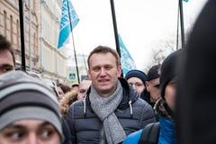 2018年2月25日,俄罗斯,莫斯科 Alexey,在鲍里斯・涅姆佐夫记忆的行军的Navalny在莫斯科的中心 免版税库存图片