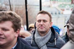 2018年2月25日,俄罗斯,莫斯科 Alexey,在鲍里斯・涅姆佐夫记忆的行军的Navalny在莫斯科的中心 库存照片