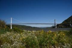 2017年9月23日,哈得逊河谷,纽约州 熊山桥梁横渡哈得逊河在Peekskil北部 免版税库存图片