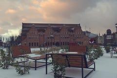 2019年1月3日,波兰,格但斯克,美好的日出在波兰波儿地克爱好音乐的老镇 免版税库存照片