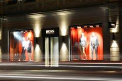 2017年9月15日,翼果,俄罗斯便利商店mod `上司`,与时装模特的窗口 图库摄影