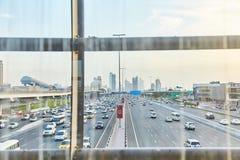 2019年3月20日,-阿拉伯联合酋长国,迪拜:摩天大楼在迪拜的街市 城市的中心有摩天大楼的 免版税图库摄影