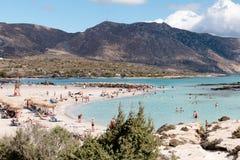 2017年10月1日, Elafonissi,希腊- Elafonissi海滩 免版税库存图片