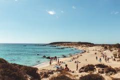 2017年10月1日, Elafonissi,希腊- Elafonissi海滩 库存照片