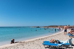 2017年10月1日, Elafonissi,希腊- Elafonissi海滩 免版税图库摄影
