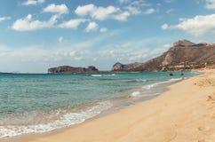 2017年10月3日, Falasarna,克利特,希腊- Falasarna海滩的看法  免版税库存图片