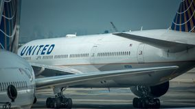2017年6月17日:纽瓦克国际机场,纽瓦克,新泽西,我们团结的航空公司在纽瓦克国际机场喷射 库存图片