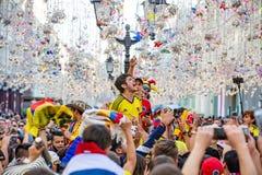 2018年6月16日 世界杯2018年,在M街道上的足球迷  图库摄影