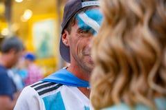 2018年6月16日 世界杯2018年,在M街道上的足球迷  免版税库存图片