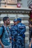 2018年6月16日 世界杯2018年,在M街道上的足球迷  免版税图库摄影